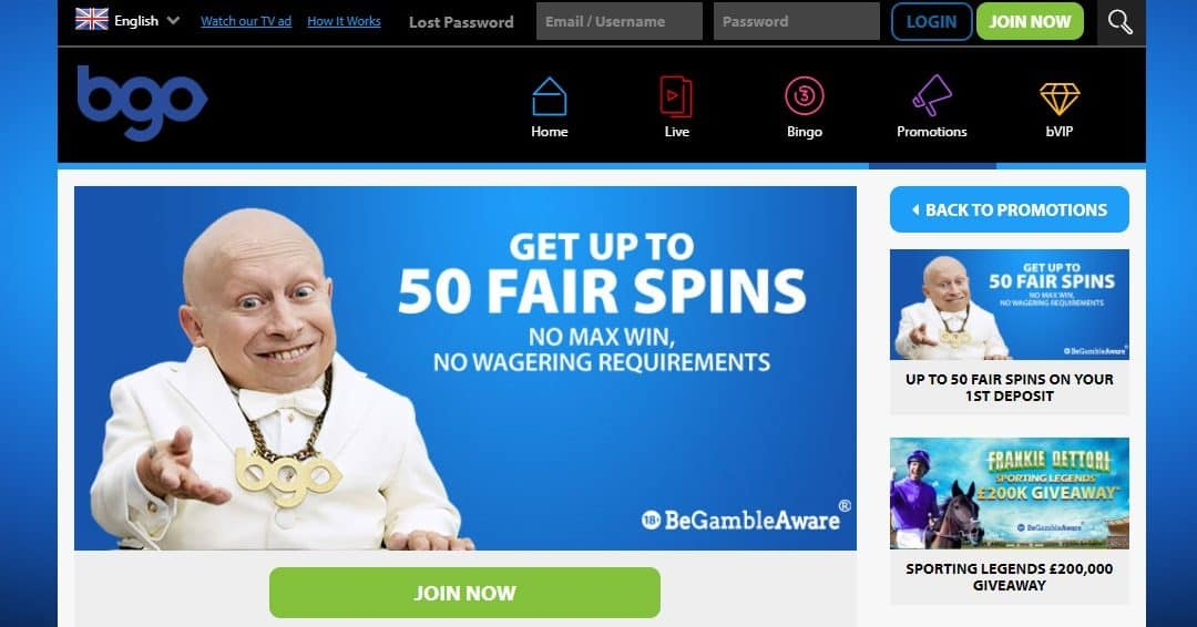 New Welcome Offer at BGO Casino – 50 'Fair Spins' on Your Initial Deposit