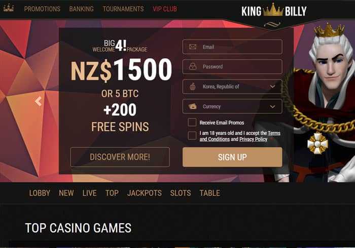 KingBillyCasino NZ Review