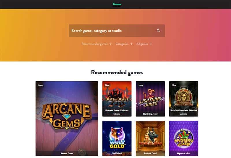 Casino Games Offering