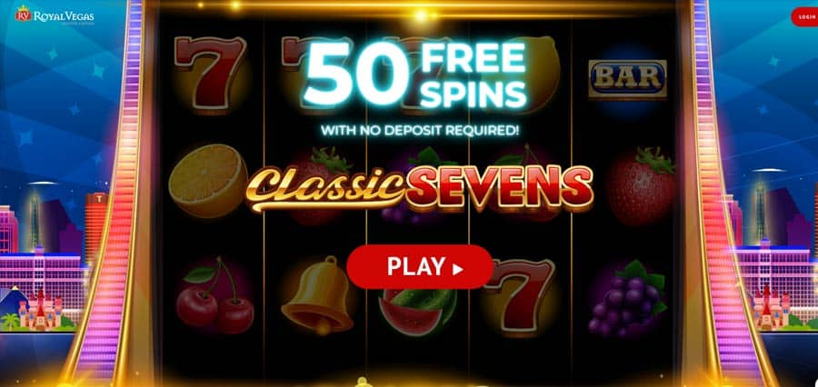 50 free spins on Classic Sevens